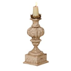 Carved Candle Stand, Crossroads Rosa