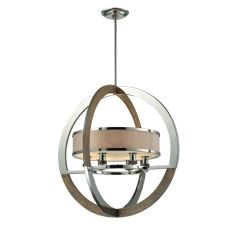 Crestwood 6 Light Pendant In Polished Nickel And Chestnut