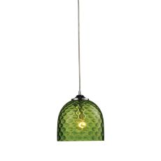 Viva 1 Light Pendant In Polished Chrome And Green Glass