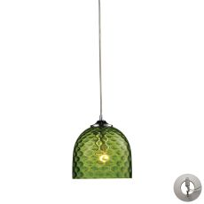 Viva 1 Light Pendant In Polished Chrome And Green Glass - Includes Recessed Lighting Kit