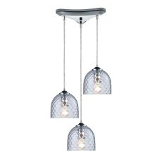 Viva 3 Light Pendant In Polished Chrome And Clear Glass