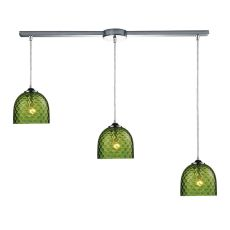 Viva 3 Light Pendant In Polished Chrome And Green Glass