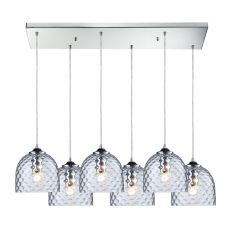Viva 6 Light Pendant In Polished Chrome And Clear Glass