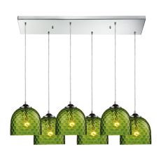 Viva 6 Light Pendant In Polished Chrome And Green Glass