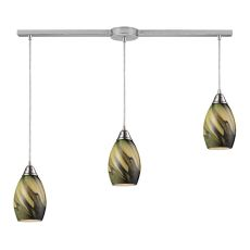 Formations 3 Light Pendant In Satin Nickel And Planetary Glass