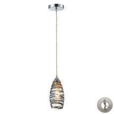 Twister 1 Light Pendant In Polished Chrome And Vine Wrap Glass With Recessed Lighting Kit