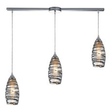 Twister 3 Light Pendant In Polished Chrome And Vine Wrap Glass