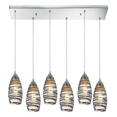 Twister 6 Light Pendant In Polished Chrome And Vine Wrap Glass