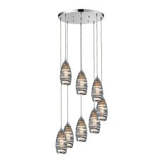Twister 8 Light Pendant In Polished Chrome And Vine Wrap Glass