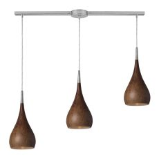 Lindsey 3 Light Pendant In Burl Wood And Satin Nickel