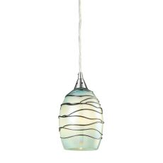 Vines 1 Light Pendant In Satin Nickel And Mint Glass