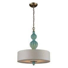 Lilliana 3 Light Pendant In Aged Silver And Seafoam Ceramic