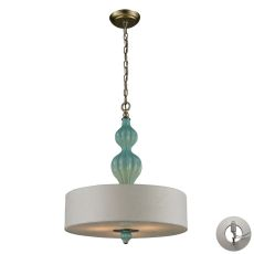 Lilliana 3 Light Pendant In Seafoam And Aged Silver - Includes Recessed Lighting Kit