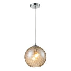 Watersphere 1 Light Pendant In Polished Chrome And Champagne Glass
