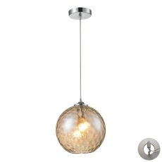 Watersphere 1 Light Pendant In Polished Chrome And Champagne Glass - Includes Recessed Lighting Kit