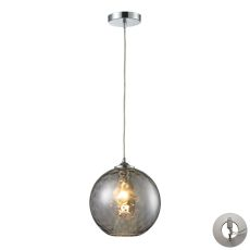 Watersphere 1 Light Pendant In Polished Chrome And Smoke Glass - Includes Recessed Lighting Kit