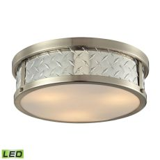 Diamond Plate 3 Light Led Flushmount In Brushed Nickel