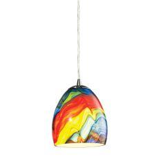 Colorwave 1 Light Pendant In Satin Nickel And Rainbow Streak Glass