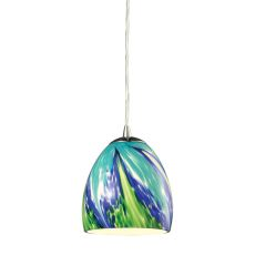Colorwave 1 Light Pendant In Satin Nickel And Tropics Glass