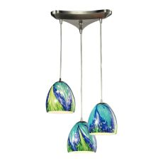 Colorwave 3 Light Pendant In Satin Nickel And Tropics Glass