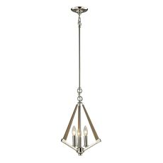 Madera 3 Light Pendant In Polished Nickel And Natural Wood
