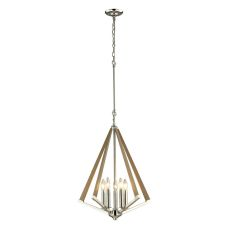 Madera 5 Light Pendant In Polished Nickel And Natural Wood