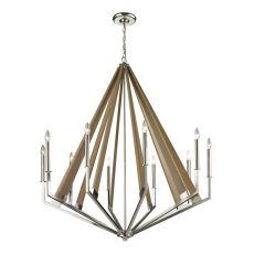Madera 10 Light Chandelier In Polished Nickel And Natural Wood