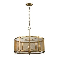 Rialto 5 Light Pendant In Aged Brass