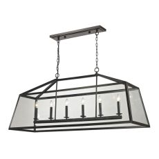 Alanna 6 Light Pendant In Oil Rubbed Bronze And Clear Glass