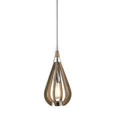 Janette 1 Light Pendant In Polished Nickel And Chestnut
