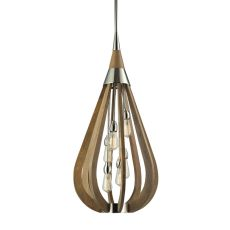 Janette 6 Light Pendant In Polished Nickel And Chestnut
