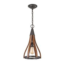 Wood Arches 1 Light Pendant In Oil Rubbed Bronze