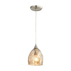 Niche 1 Light Pendant In Satin Nickel And Champagne Plated Glass