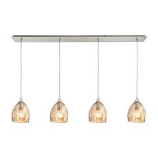 Niche 4 Light Pendant In Satin Nickel And Champagne Plated Glass