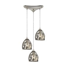 Niche 3 Light Pendant In Satin Nickel And Black Chrome Glass