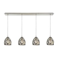 Niche 4 Light Pendant In Satin Nickel And Black Chrome Glass
