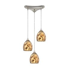 Niche 3 Light Pendant In Satin Nickel And Polished Gold Glass