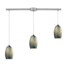 Tidewaters 3 Light Pendant In Satin Nickel And Seafoam Glass