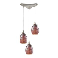 Vines 3 Light Pendant In Satin Nickel And Rhubarb Glass