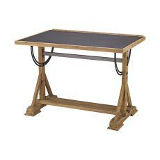 Collegio Desk, Natural Woodtone, Black Iron