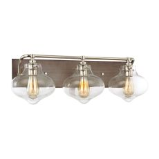 Kelsey 3 Light Vanity In Weathered Zinc With Polished Nickel Accents