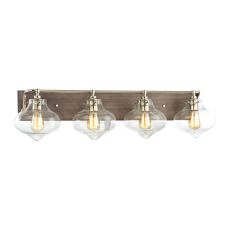 Kelsey 4 Light Vanity In Weathered Zinc With Polished Nickel Accents