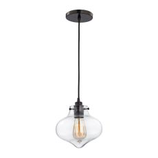 Kelsey 1 Light Pendant In Oil Rubbed Bronze And Clear Glass