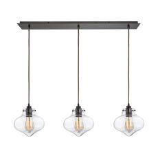 Kelsey 3 Light Pendant In Oil Rubbed Bronze And Clear Glass