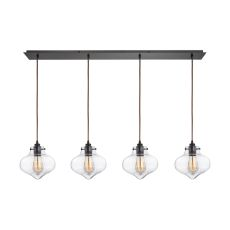 Kelsey 4 Light Pendant In Oil Rubbed Bronze And Clear Glass