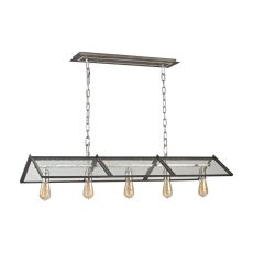 Ridgeview 5 Light Chandelier In Weathered Zinc With Polished Nickel Accents