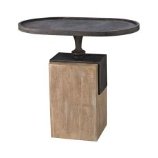 Robard Accent Table, Blackened Iron, Natural Woodtone