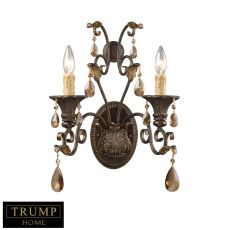 Rochelle 2 Light Sconce In Weathered Mahogany And Amber Crystal