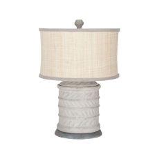 Ribbed Terra Cotta Lamp, Concrete, Natural