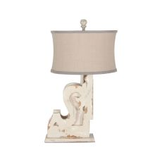 Carved Corbel Table Lamp I In Crossroads Rosa, Crossroads Rosa